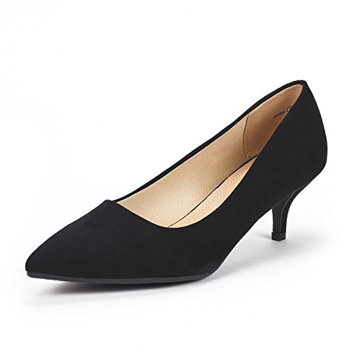 (DREAM PAIRS Women's Moda Black Suede Low Heel D'Orsay Pointed Toe Pump Shoes Size 5 M US)