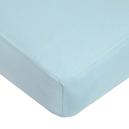(American Baby Company Supreme 100% Natural Cotton Jersey Knit Fitted Crib Sheet for Standard Crib and Toddler Mattresses, Blue, Soft Breathable, for Boys and Girls)