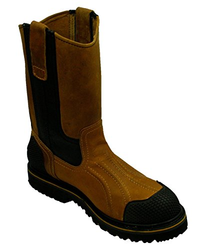 (Men's Work Boots Slip Resistant Water Oil Gas Slip Safety Boots_Tan-Black_8)