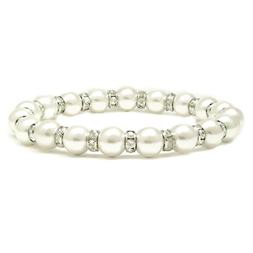 Accents Kingdom Women's Magnetic Hematite White Tuchi Simulated Pearl Bracelet with Clear Crystal, 7.5