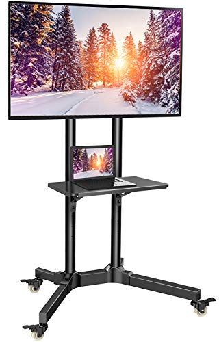 TV Cart with Wheels for 32-65 Inch LCD LED Plasma Flat Panel TVs- Height Adjustable TV Stand Hold up to 132lbs- Monitor Holder with Tray Max VESA - Inch Av Tv Stand 46