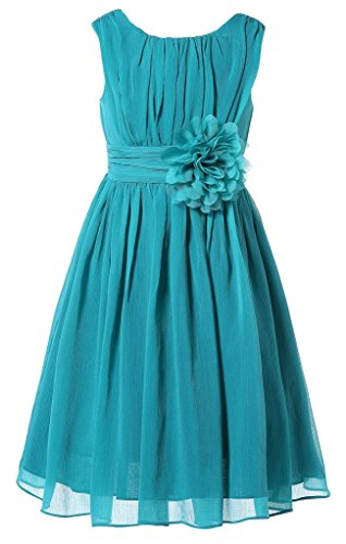 Bow Dream Little Girls Elegant Ruffle Chiffon Summer Flowers Girls Dresses Junior Bridesmaids Peacock Blue 6