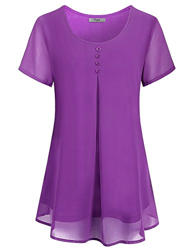 Cestyle Short Sleeve Tunics for Women,Misses Summer Flowing Double Layer Chiffon Tunic Dress Juniors Vintage Going Out Tshirts Blouse Tops Plus Size Clothing Purple 2X