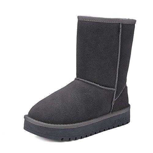 Allhqfashion Dames Stevige Lage Hakken Ronde Gesloten Teen Geïmiteerd Suède Pull-on Snow-boots Grijs