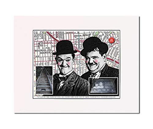 Stan and Ollie, The Music Box Steps, Los Angeles, California. Art Print. You Are Here. Gallery Quality. Matted at 14 inches x 11 inches and Ready to Frame.