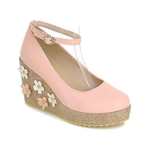 VogueZone009 Women's Round Closed Toe High Heels Soft Material Solid Buckle Pumps-Shoes Pink UeNmQCzE