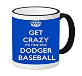Los Angeles Dodger's Baseball 11 ounce Black Rim/Handle Ringer Ceramic Coffee Mug Tea Cup by Debbie's Designs