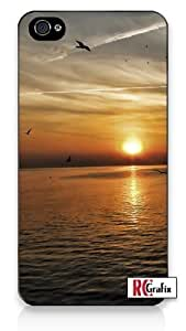 Beautiful Florida Sunset Ocean Birds & Sky Iphone 4 Quality TPU SOFT RUBBER Snap On Case for Iphone 4 - AT&T Sprint Verizon - White Case