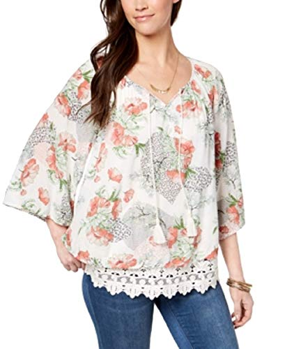 (Style & Co. Womens Lace Hem Floral Peasant Top Ivory L)