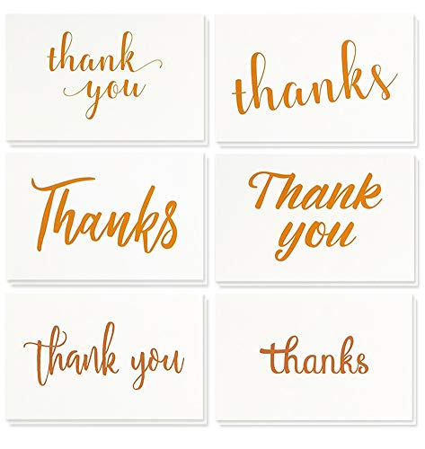 - Best Paper Greetings Thank You Cards Bulk - 48-Pack Thank You Cards, 6 6 Gold Font Designs, Thank You Notes, Envelopes Included, 4 x 6 Inches