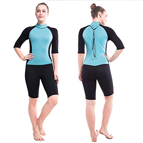 DEHAI Men Women's Full Wetsuits Thermal Suit Sleeves 3mm Neoprene Youth Adult's Diving Swimming Snorkeling Surfing Scuba Jumpsuit Warm Swimwear (Women Shorty XL) (Wetsuit Spring Women)