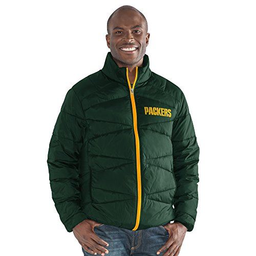 NFL Green Bay Packers The Blitz Full Zip Packable Jacket, Large, Green