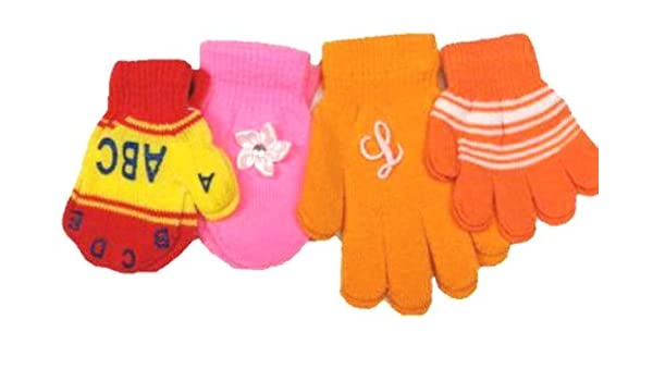Four Pairs Magic Mittens Gloves for Ages 6 Month to 4 Years
