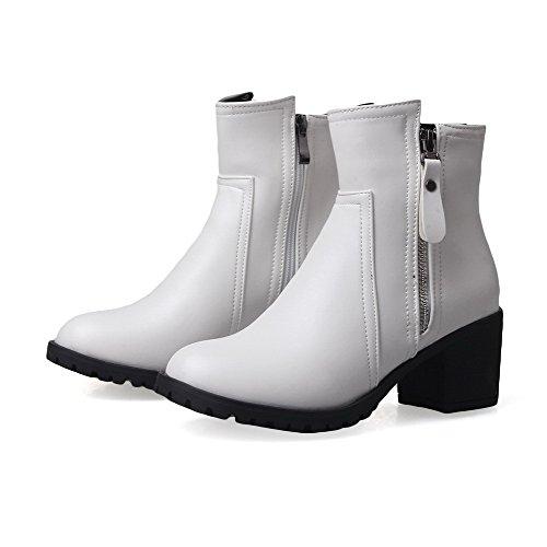 AllhqFashion Damen PU Leder Mittler Absatz Rein Reißverschluss Stiefel Weiß