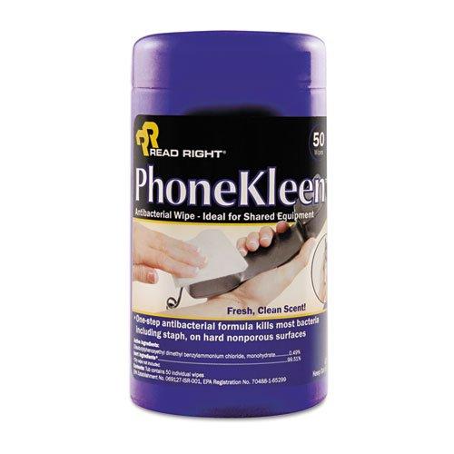 Read Right RR1403 PhoneKleen Wet Wipes Cloth 5 x 6 50/Tub (Wipes Phonekleen Wet)