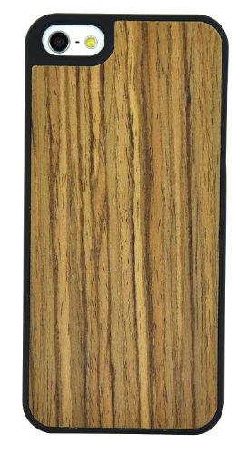 SunSmart Caso de madera natural real de madera de bambú de Apple iPhone 5 Genuine Copia de Caja Cubierta con bordes de plástico resistente (colorido) nuez