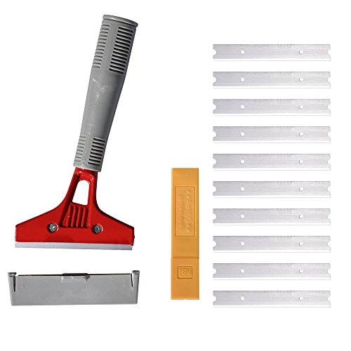 Ehdis 4'' Wide Heavy Duty Stainless Steel Scraper Long-Handle Clean Shovel with one 1'' Jack at End to Install Long Handle, Added 10 Replacement Blade by Ehdis