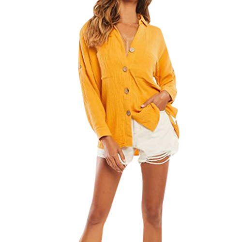 Sunhusing Workplace Elite Ladies Solid Color Lapel Pocket Patchwork Button-Down Tops Casual Short T-Shirt Yellow