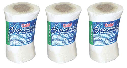(Cadet 3 Pack of Stuffed Shin Bone Dog Chews, 3 to 4 Inches each, Beef and Peanut Butter)