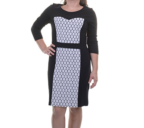 kensie Contrast Ponte Dress Dove Combo XL