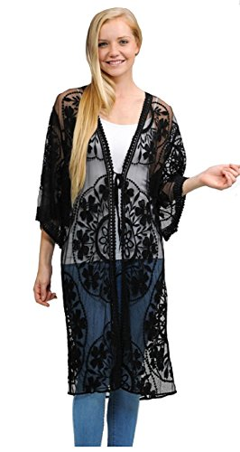 Contemporary Fashion Long Crochet Lace Shrug Open Cardigan Duster Cover up Jacket