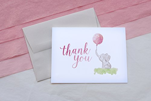 Beautiful Baby Shower Thank You Cards (Set of 10 Cards + Envelopes) - Watercolor Elephant & Pink Balloon - by Palmer Street Press