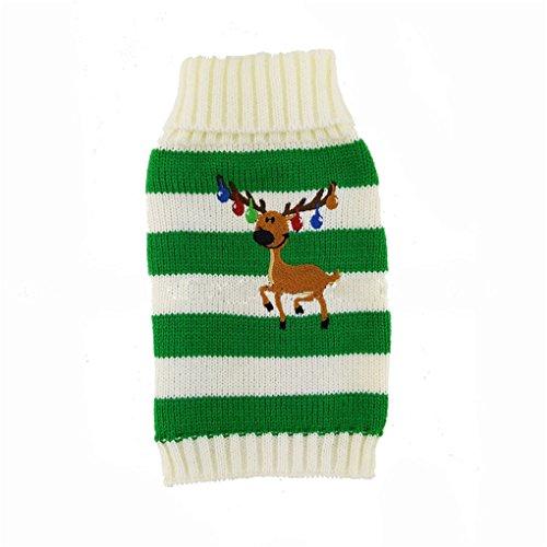 [Puggy Clothes,Haoricu Bells Elk Autumn Spring Winter Dog Sweater Cat Pet Clothes Apparel Christmas Pet Coat Costume (S,] (Discount Christmas Costumes)