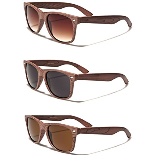 3 Pack Wood Grain Print Sunglasses 3 Assorted - Sunglasses Woodgrain