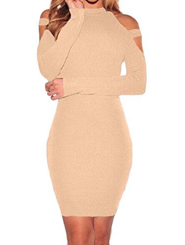 Dress Coolred Solid Off Women's Khaki Pencil Soft Shoulder Bodycon 01Tqn1r