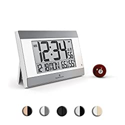 Marathon CL030052WH-SV Atomic Digital Wall Clock With Auto-Night Light, Temperature & Humidity - Batteries Included (White/Silver)