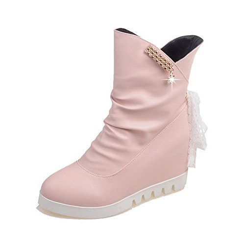 con con High cerrada AgooLar redondas botas Pu Solid cordones rosa punta Heels color xIxC4q