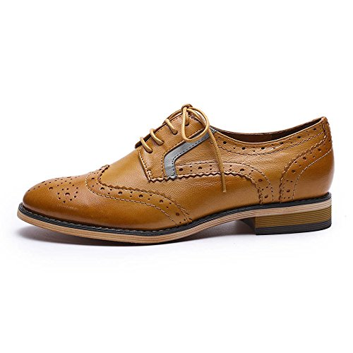 Pictures of Mona Flying Women's Leather Perforated Lace-up Oxfords Shoes for Women Wingtip Multicolor Brougue Shoes 8