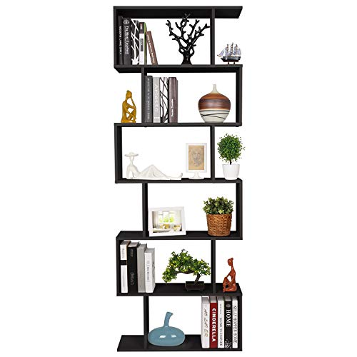- Homfa Bookshelf 6-Tier Bookcase S Shaped Free Standing Display Storage Shelves Decor Furniture for Living Room Home Office, Black