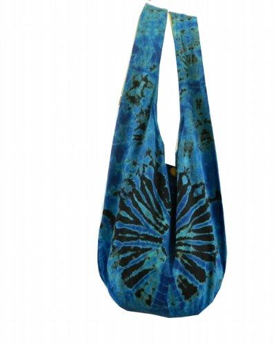 BTP! Tie Dye Sling Crossbody Shoulder Bag Purse Hippie Hobo Cotton Bohemian - Black Blue Firework VJ2 by BenThai Products