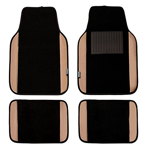 FH GROUP FH-F14408 Carpet w. Faux Leather Floor Mats Tan / Black Color - Fit Most Truck, Suv, or - Type Jaguar Accessories S