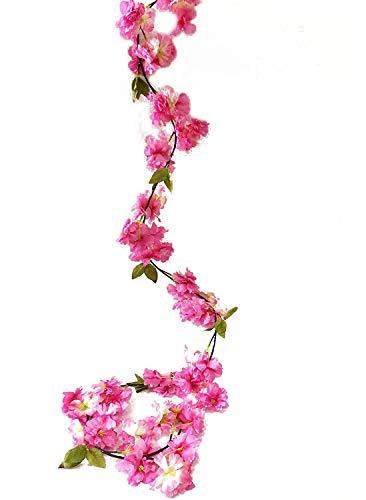 Artfen Artificial Cherry Blossom Vine Hanging Plants Faux Sakura Garland Fake Oriental Cherry Wreath Artificial Flower 5.8 FT Deep - Flower Deep Pink