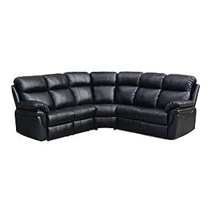 Milton Greens Stars Frankfurt Sectional Sofa with 2 Recliners, Black