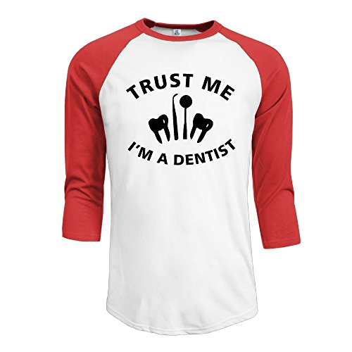 Men's Trust Me I Am A Dentist 3/4 Sleeve Raglan Baseball T (Mirror Image Clipart)