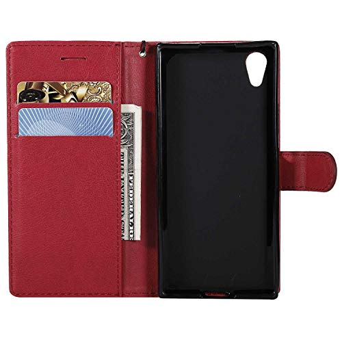 Sony Xperia XA1 Wallet Case, CUSKING Premium Leather Cover with Silicone Inner Case for Sony Xperia XA1 [Card Holder] [Magnetic Closure] [Hand Strap] - Red by CUSKING (Image #3)