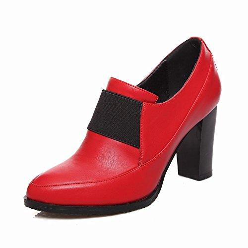 Latasa Mode Féminine Bout Pointu Bloc Haut Talon Robe Pompes Chaussures Slip Sur Chaussures Rouge