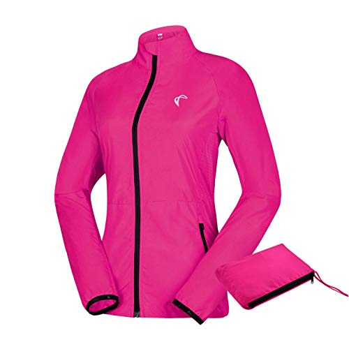 J.CARP Women's Packable Windbreaker Jacket, Lightweight and Water Resistant, Active Cycling Running Skin Coat, Rose Red M