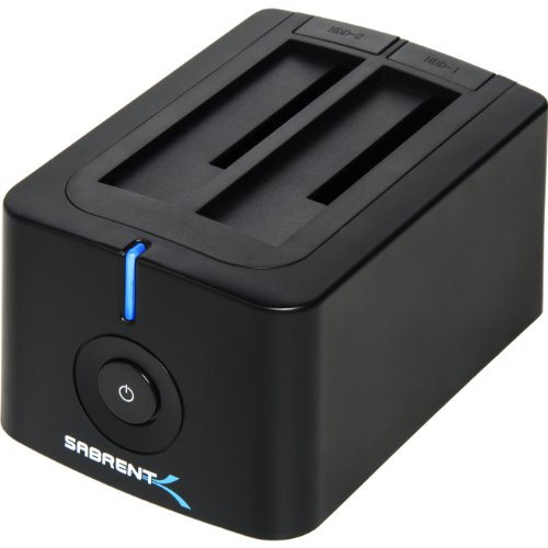 Sabrent USB 3.0 to SATA Dual Bay External Hard Drive Docking Station for 2.5 or 3.5in HDD, SSD with Hard Drive