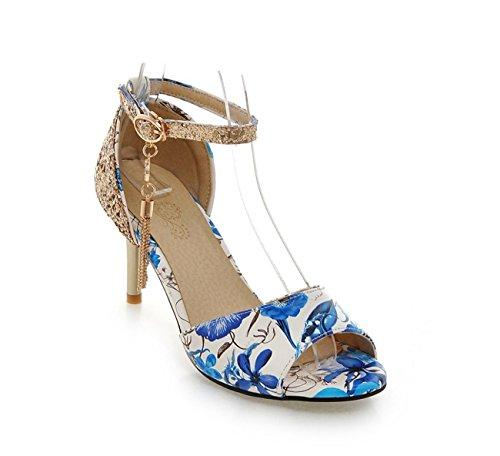 Evening amp; Black Buckle Fall Toe Synthetic Blue Novelty Summer Shoes Peep Comfort PU Heel Stiletto Microfiber SHINIK Women's Party For Sandals Wedding B4RqwWUBH