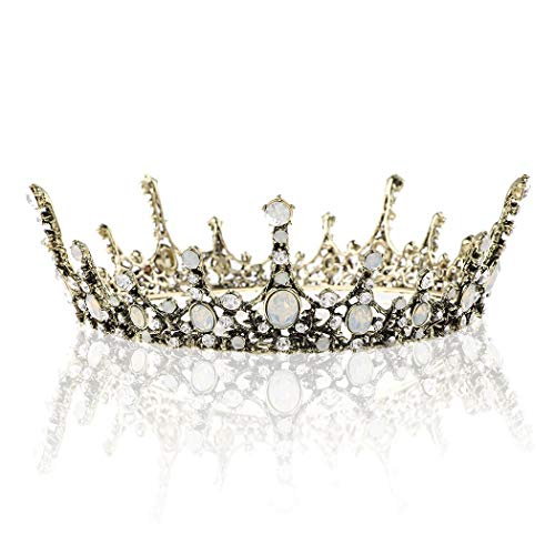 (SNOWH Roysl Baroque Queen Tiara, Vintage Jeweled Pageant Crowns and Tiaras Wedding Tiara for Bride Hair Accessories for Women and)