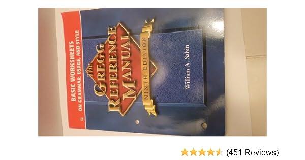 Book Title Worksheets : Gregg reference manual basic worksheets grammar usage and