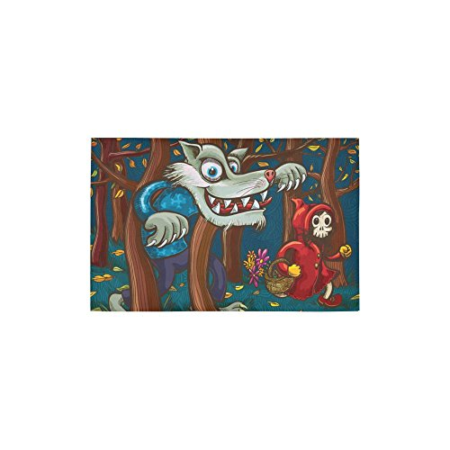 InterestPrint Scary Little Red Riding Hood and Big Bad Wolf Carpet Non Slip Modern Area Rugs 2'7