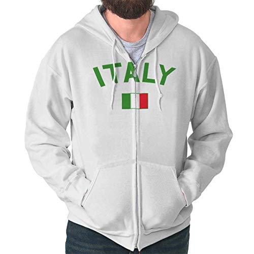 Brisco Brands Italy Country Flag Soccer Fan Italian Pride Zip Hoodie White