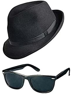 a92e95831c Blues Brothers Hat   Sunglasses Shades Fancy Dress Set Stag Costume Gangster