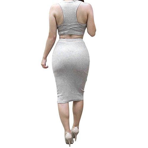 Robe Mi Pices Tenue Jupe longue Hauts Gris Rv Femme Jardin Bandage Deux Manche Moulante Sexy Sans 5YIOqaxp