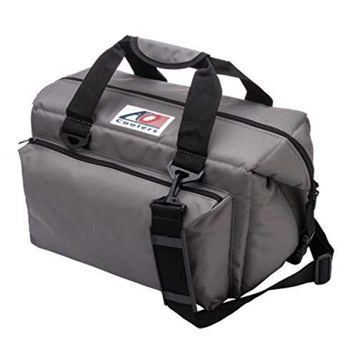 AO Coolers Deluxe Canvas Soft Cooler with High-Density Insulation, Charcoal, 24-Can